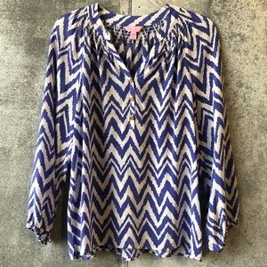 Lilly Pulitzer Tops - Lilly Pulitzer chevron silk Elsa